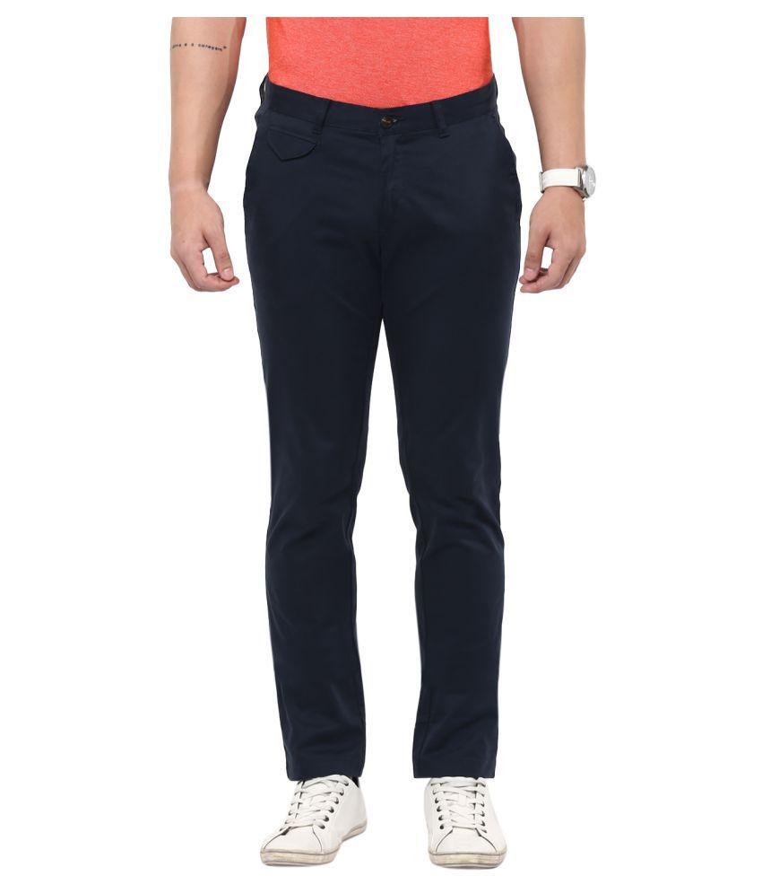 Monteil & Munero Navy Blue Slim Flat Trouser