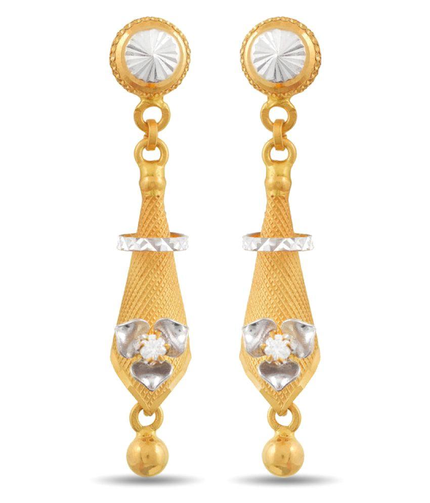 P.N.Gadgil Jewellers 22k Yellow Gold Cubic zirconia Hangings