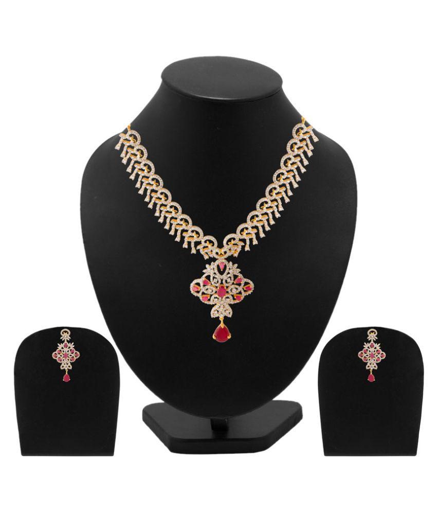Voylla White & Pink Stones Embellished Necklace Set
