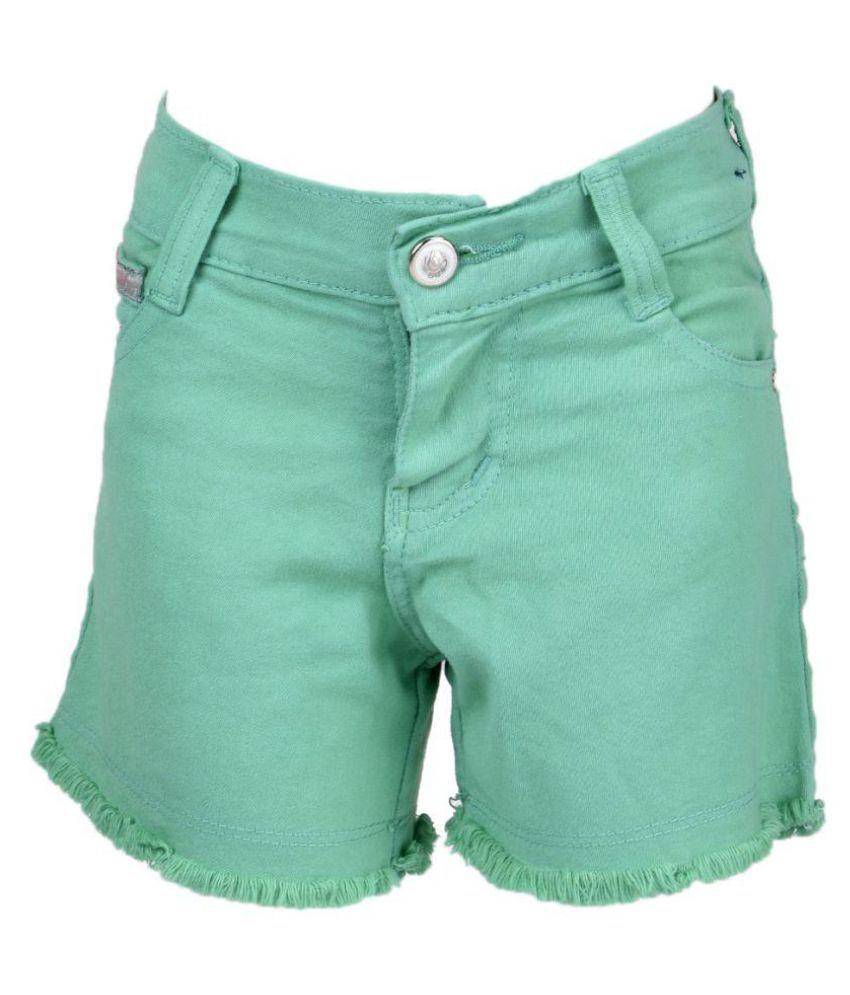 MSG Girl's Kids Green Color Shorts