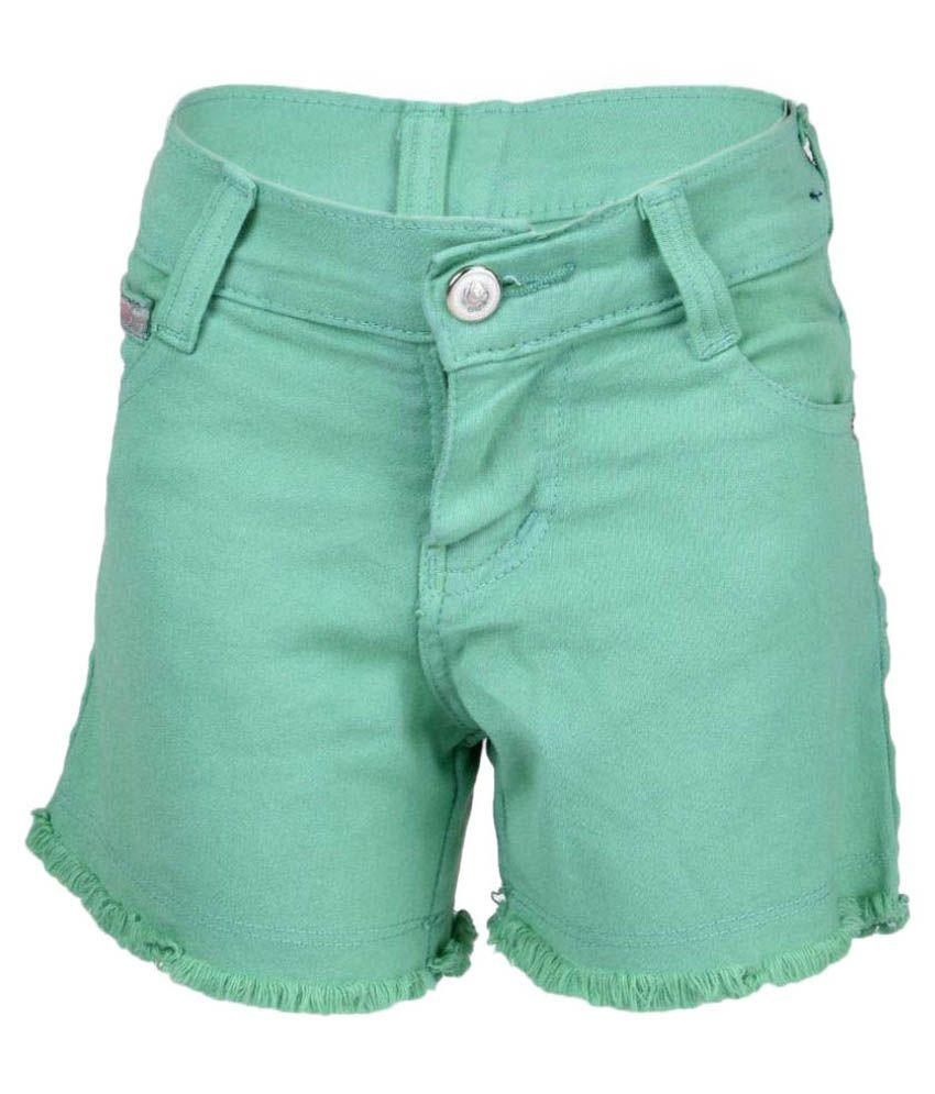 Msg  Girl's Kids Green Color Hot Pants