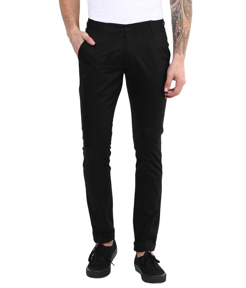 Bukkl Black Slim -Fit Flat Chinos