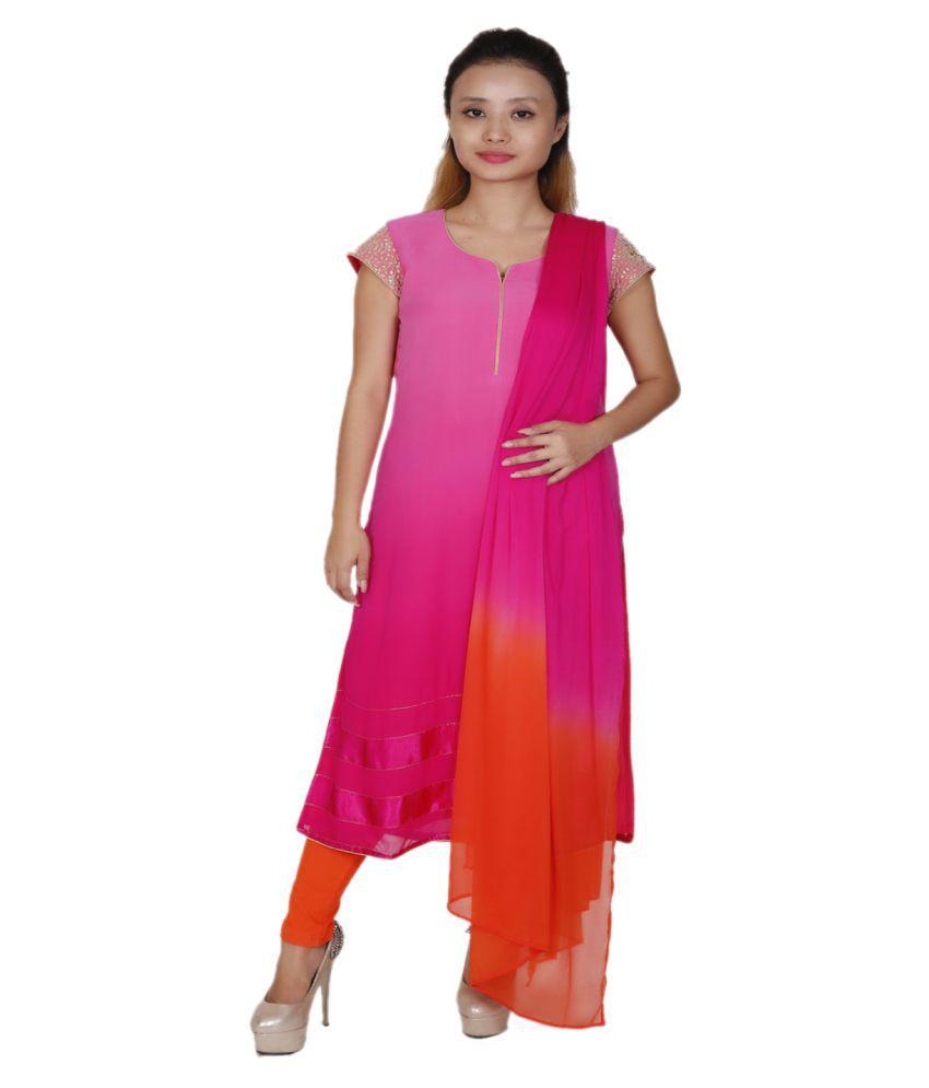 Aggana Pink Chiffon Straight Stitched Suit