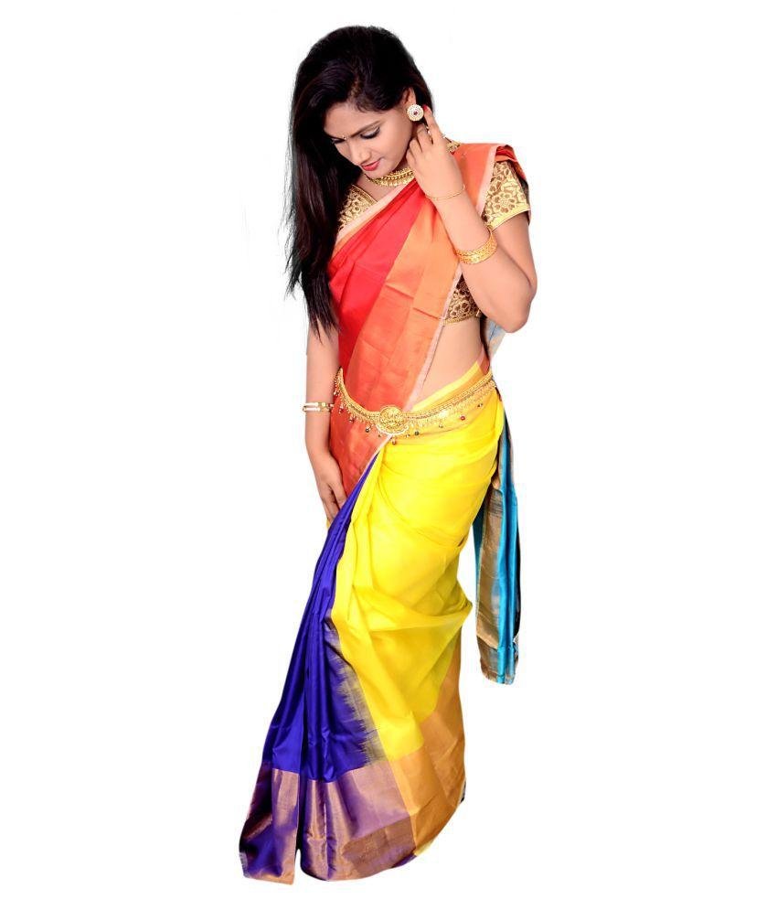 2b9e0ce99c Raaga&Malia Red and Blue Uppada Silk Saree - Buy Raaga&Malia Red and ...