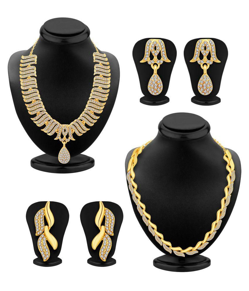 Sukkhi Golden Alloy Necklace Set Combo