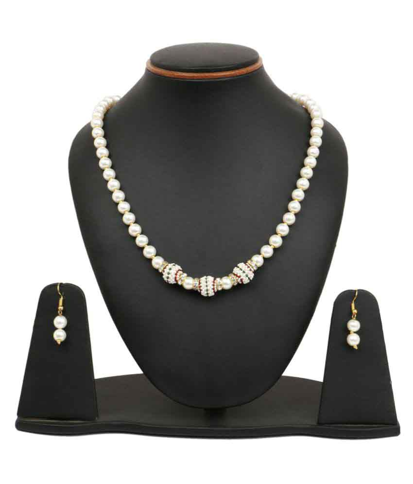 Johareez White Synthetic Pearl Brass Necklace Set