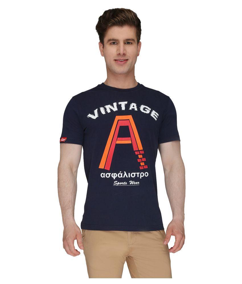 Again? Vintage Navy Round T-Shirt
