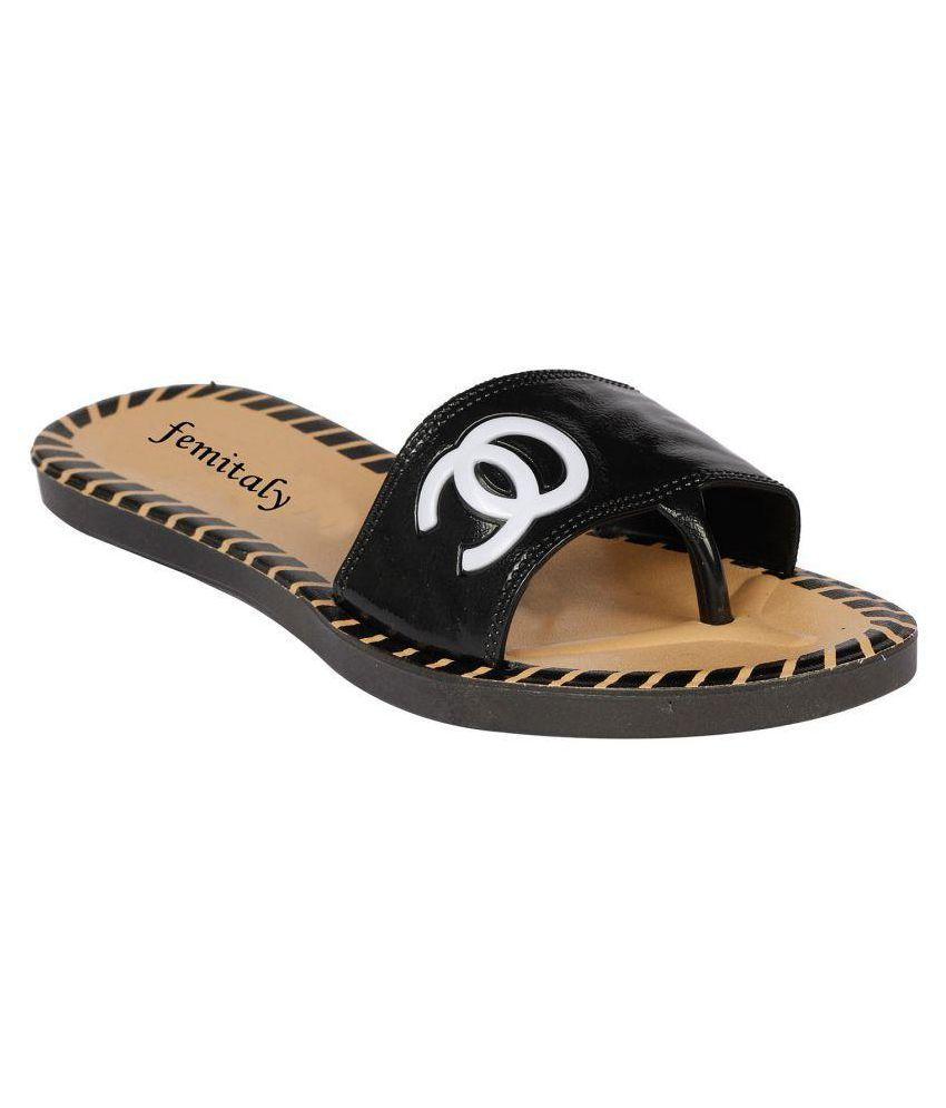 Femitaly Black Slippers