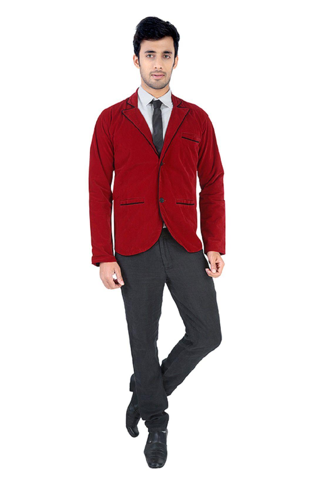 NU ABC Garments Red Velvet Solid Party Wear Blazer