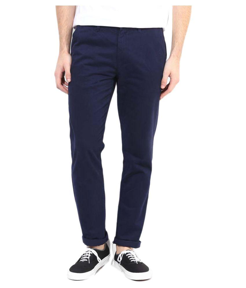 RENZO Blue Regular Flat Trouser