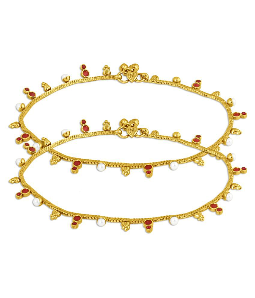 Inaya Maroon Gold Plated Anklets