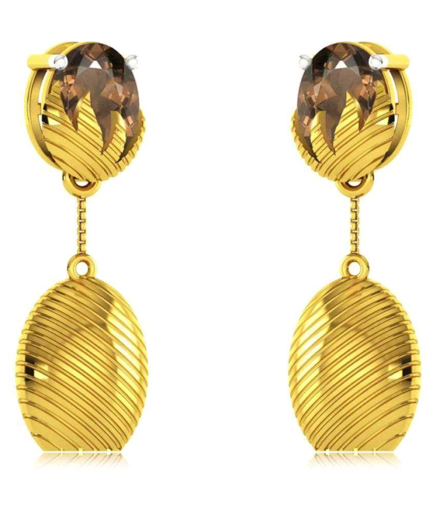 RockRush 18k BIS Hallmarked Yellow Gold Quartz Drop Earrings