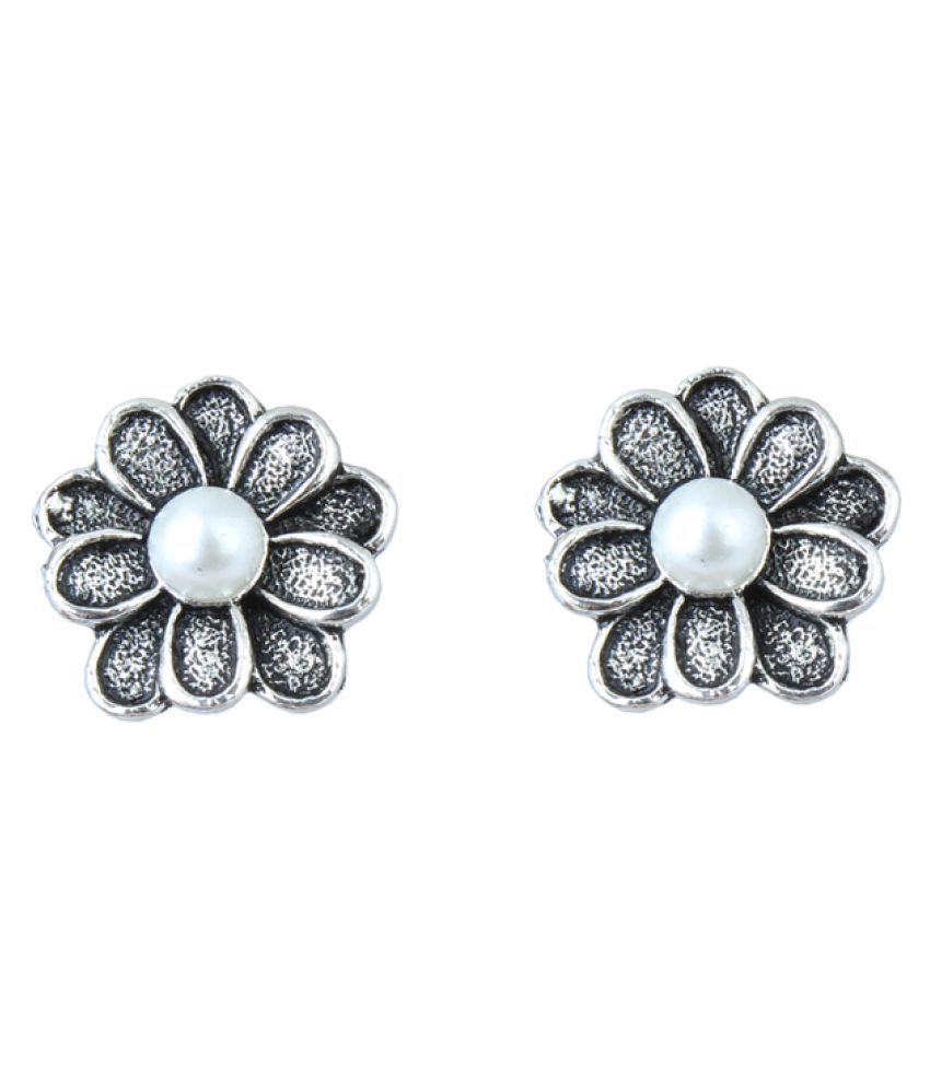 Waama Jewels Silver Brass Stud Earrings for Girls and Women