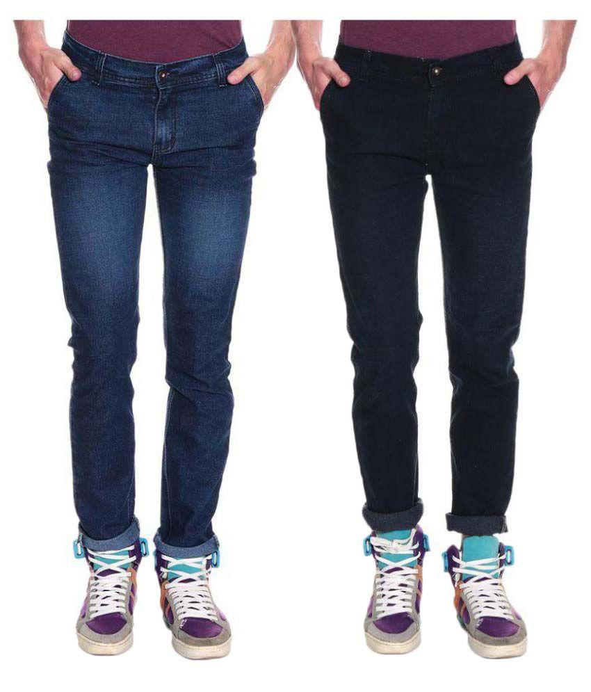 Westkon Multicolored Slim Solid Jeans - Pack of 2