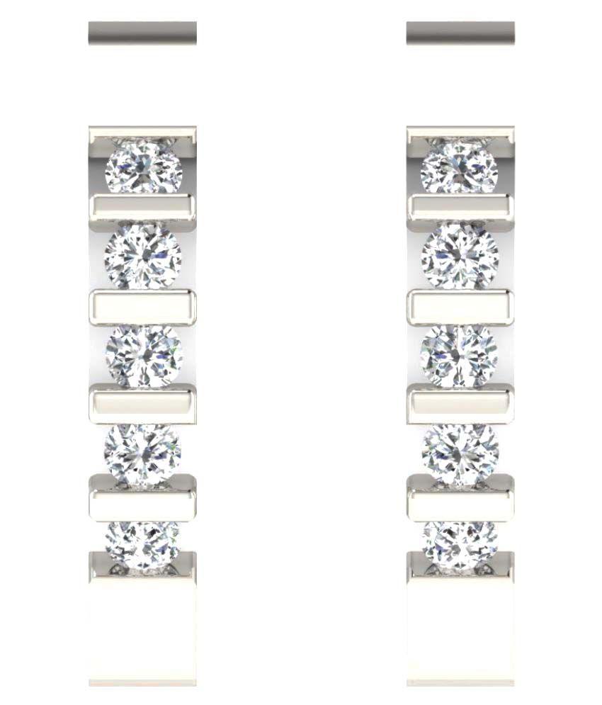 Sparkles 9K White Gold Diamond Huggies