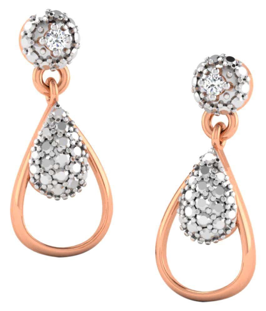 Sparkles 9K Rose Gold Diamond Drop Earrings