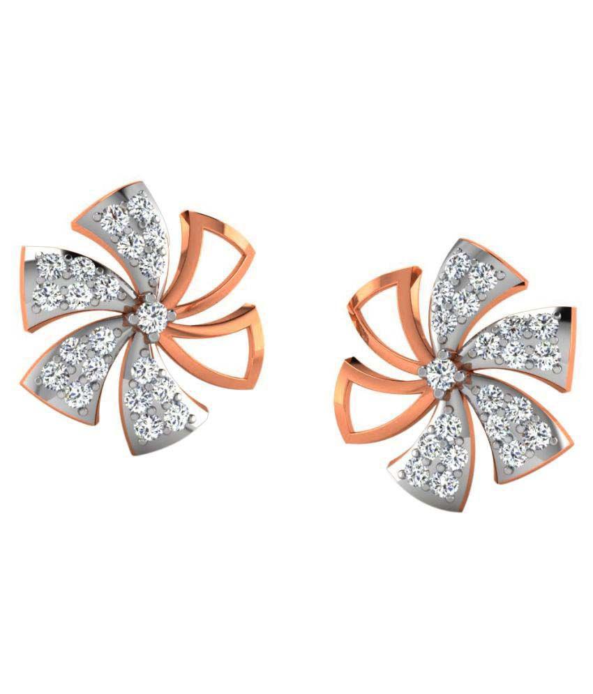 Sparkles 9K Rose Gold Diamond Studs