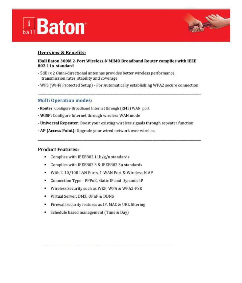 iBall WRB300M 2-Port Wireless -N Broadband Stylish and Elegant Design- High  Speed Router