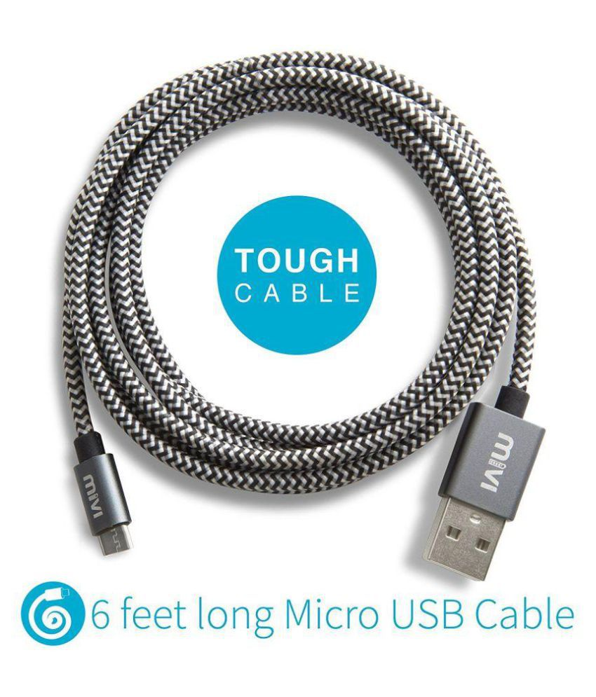 Mivi 6ft long Nylon Tough Micro USB Cable with charging speeds up to ...