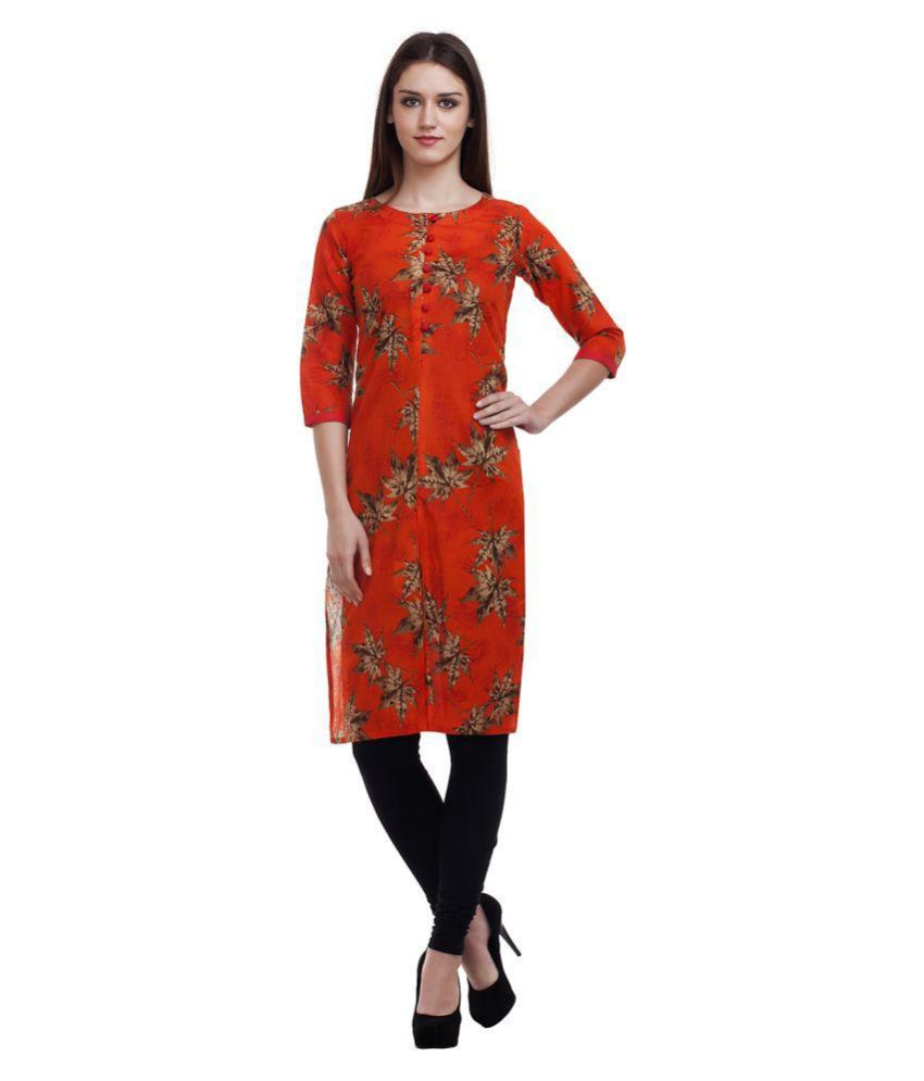 Enchanted Drapes Orange Cotton Straight Kurti