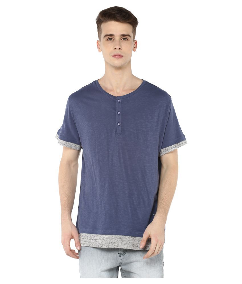 Atorse Blue Henley T-Shirt