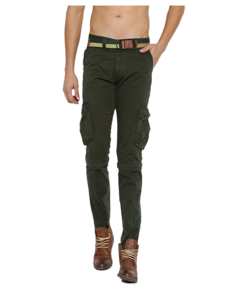 Sports 52 Wear Green Regular Flat Trouser