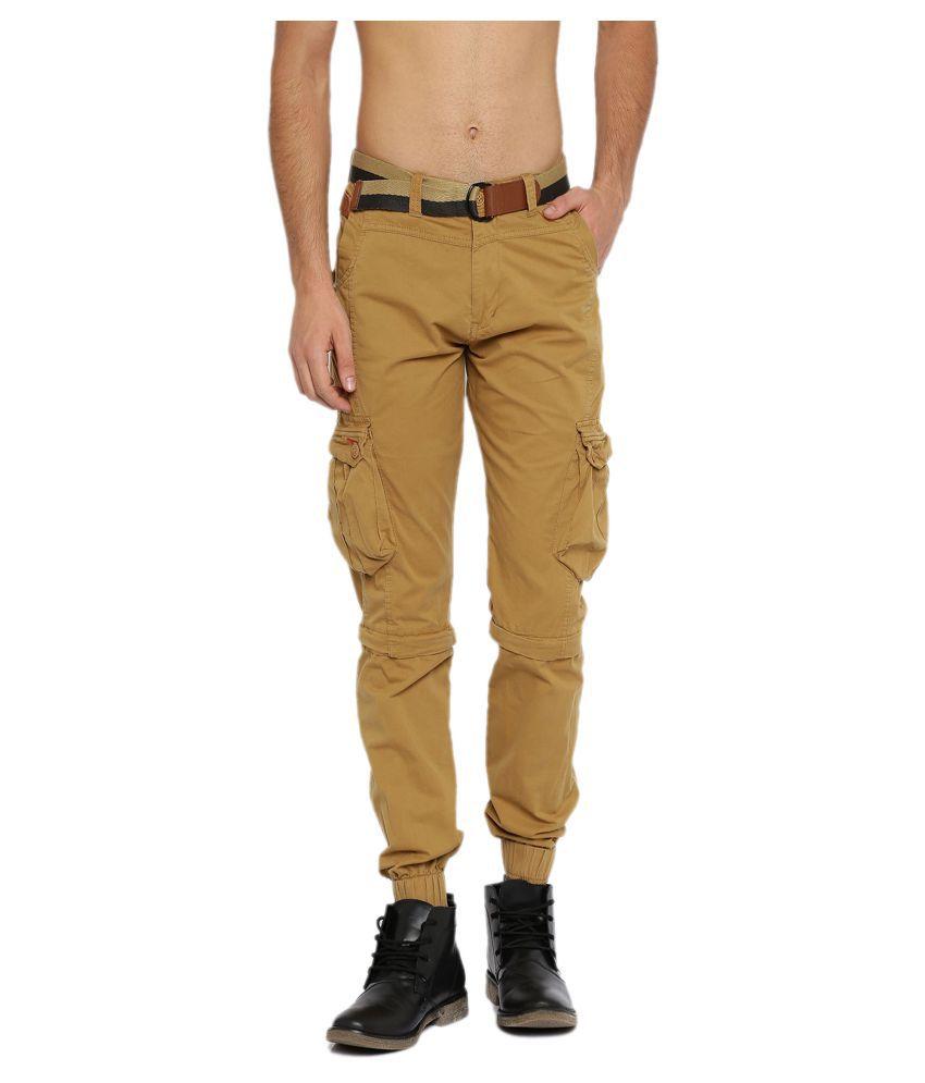 Sports 52 Wear Khaki Regular Flat Trouser