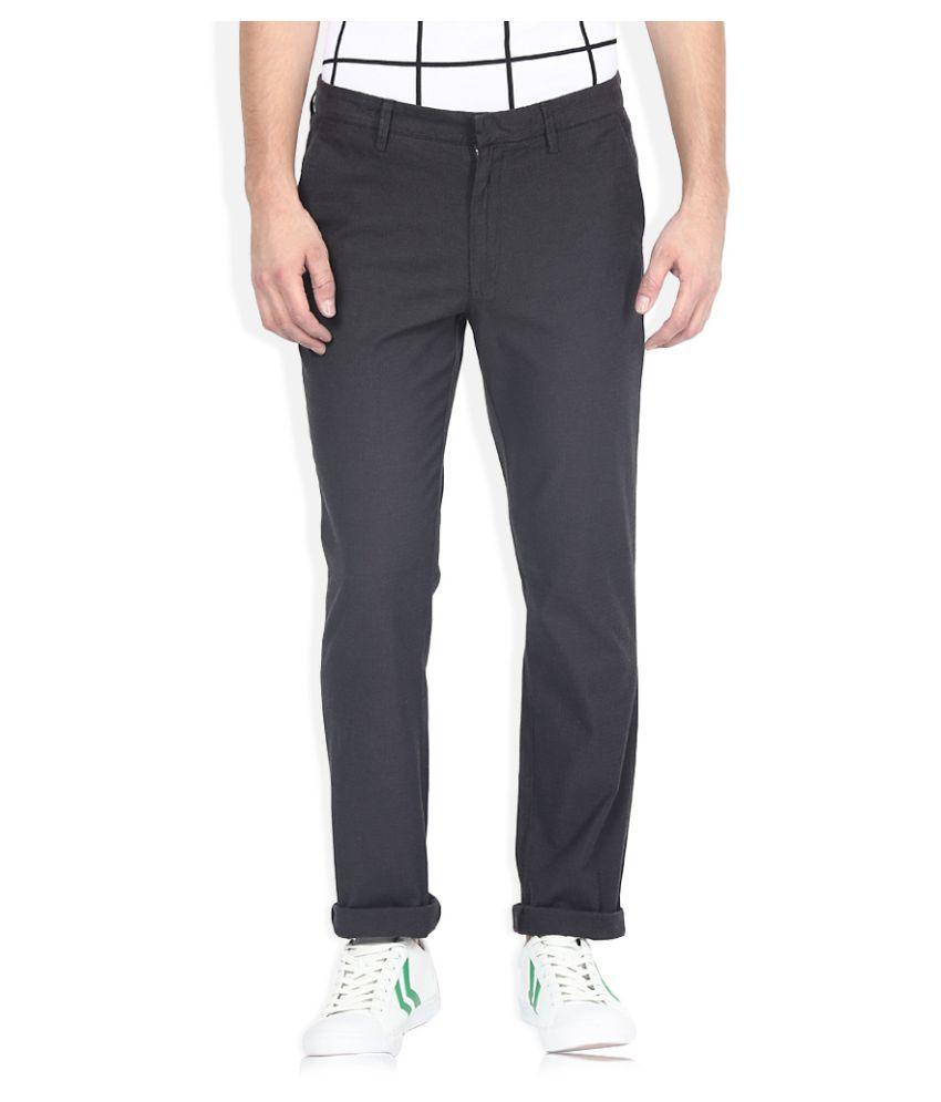 United Colors of Benetton Black Slim Pleated Trouser