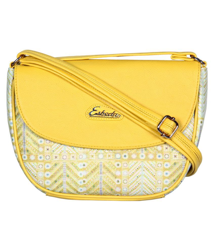 Esbeda Yellow Faux Leather Sling Bag