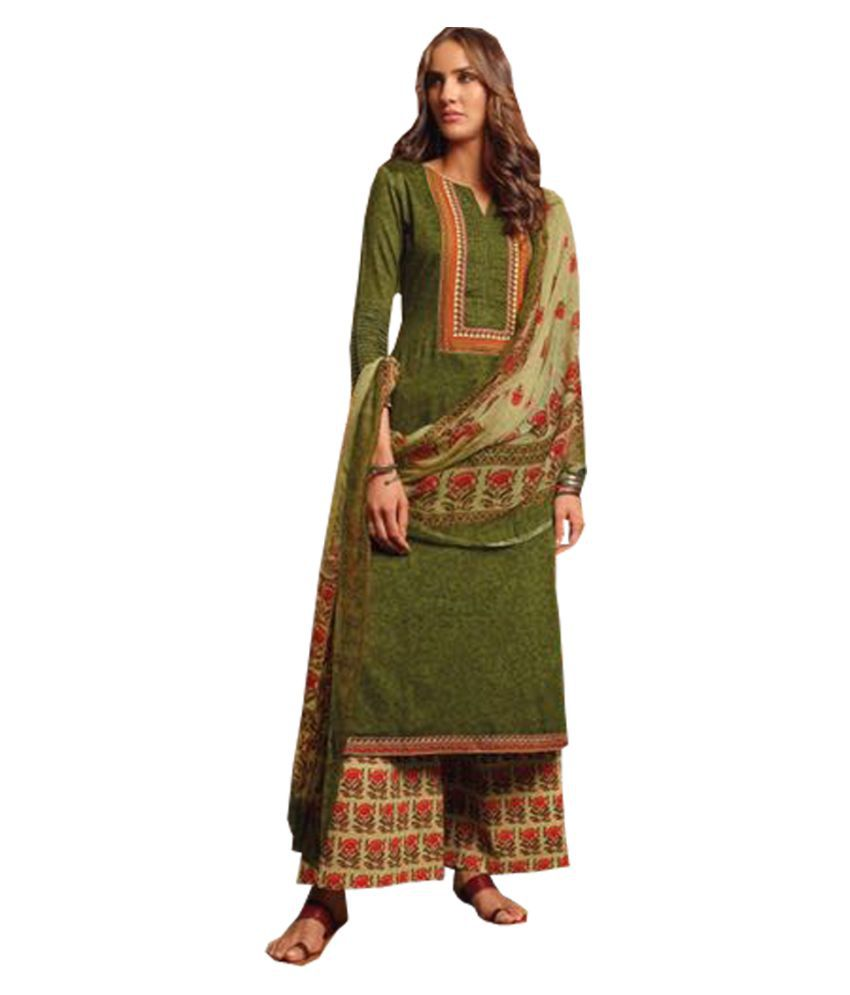 Mark Collections Green Cotton Dress Material