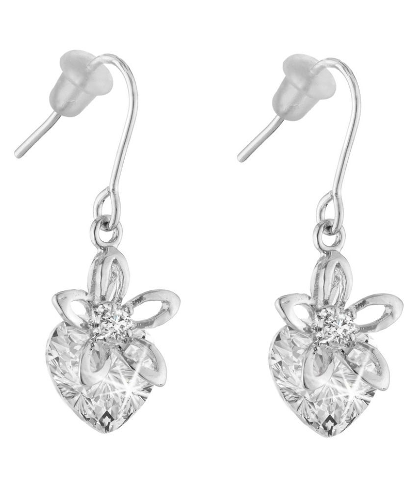 Jazz Jewellery Rhodium Plated Flower Shaped Heart White Cubic Zirconium Dangle Earrings for Women and Girls