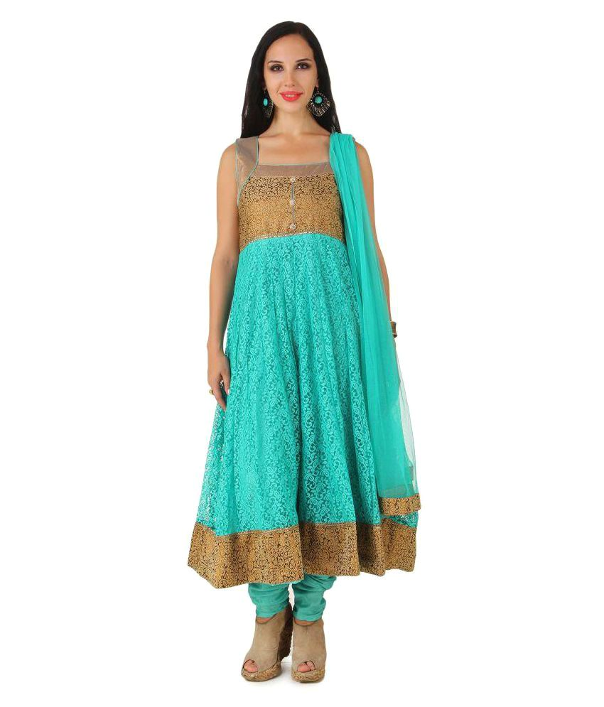 Fasense Sea Green Net Anarkali Gown Stitched Suit