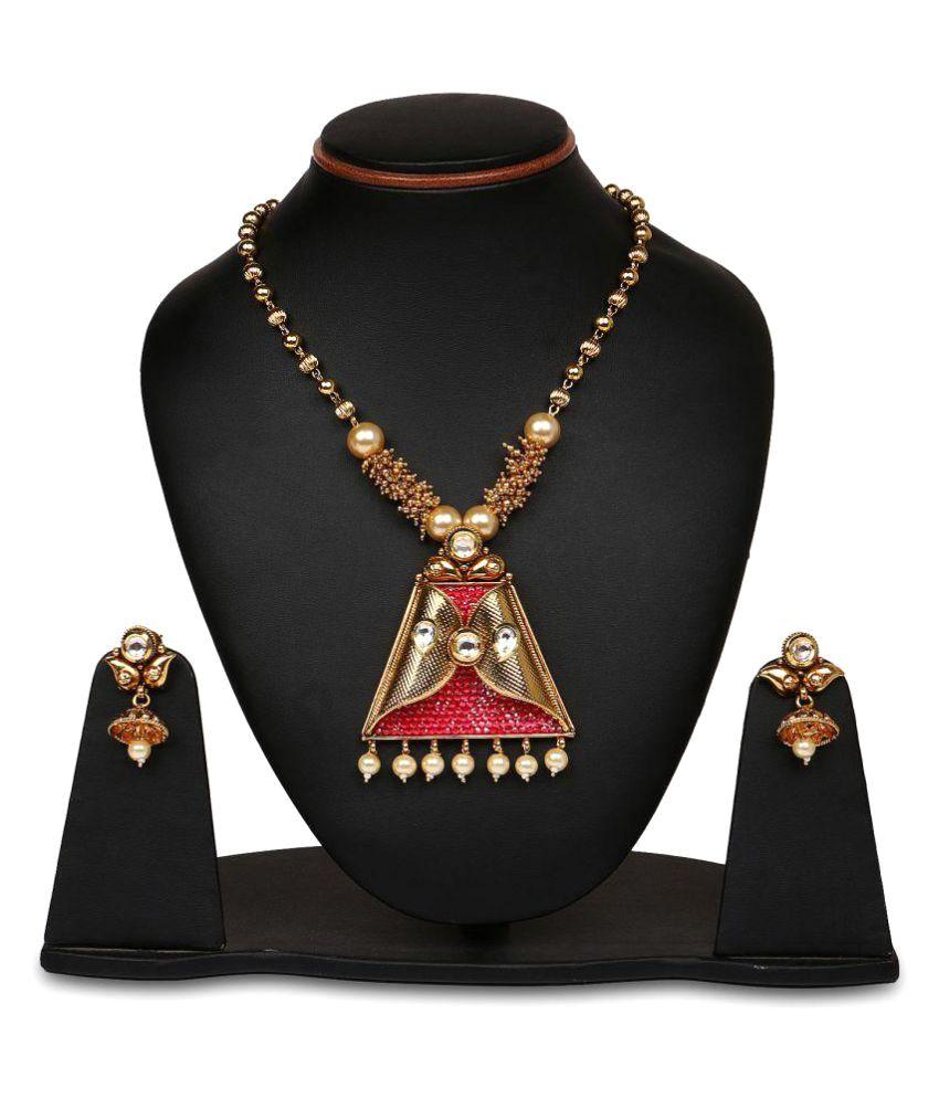 Johareez Multistone Gold Plated Pink Enamel  Necklace Set