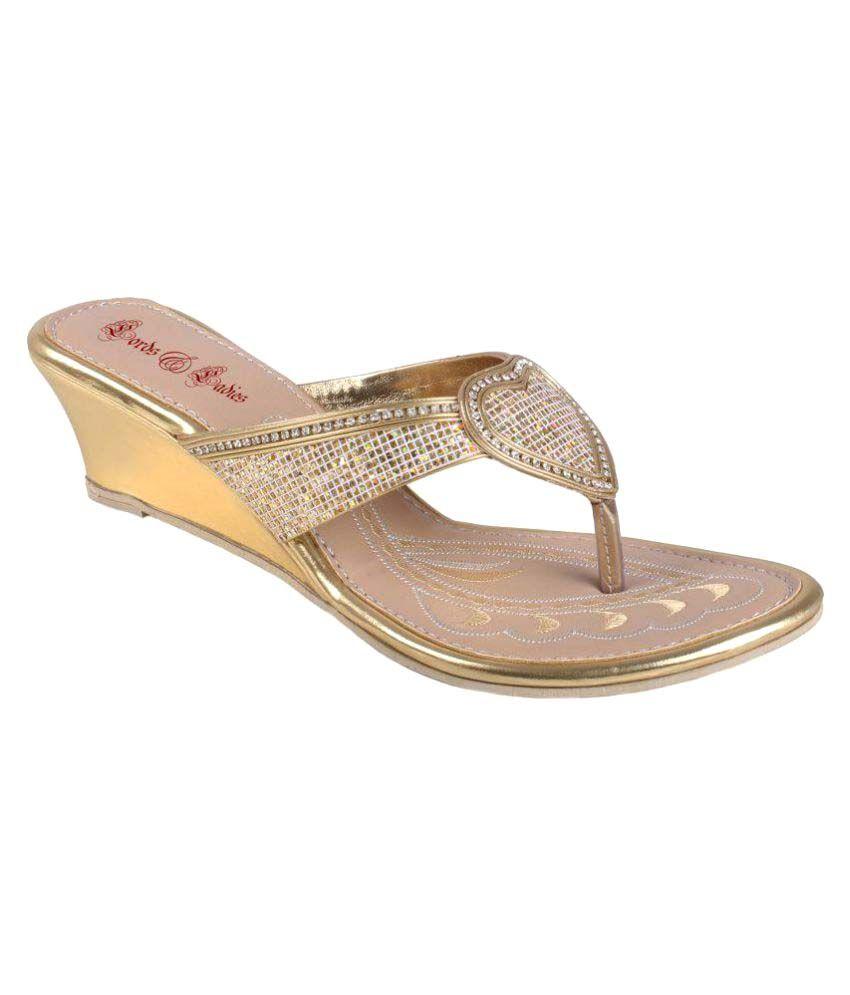 Lords & Ladies Gold Wedges Heels