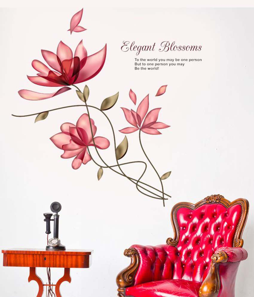 New Way Decals Elegant Blossoms Desaign PVC Wall Stickers