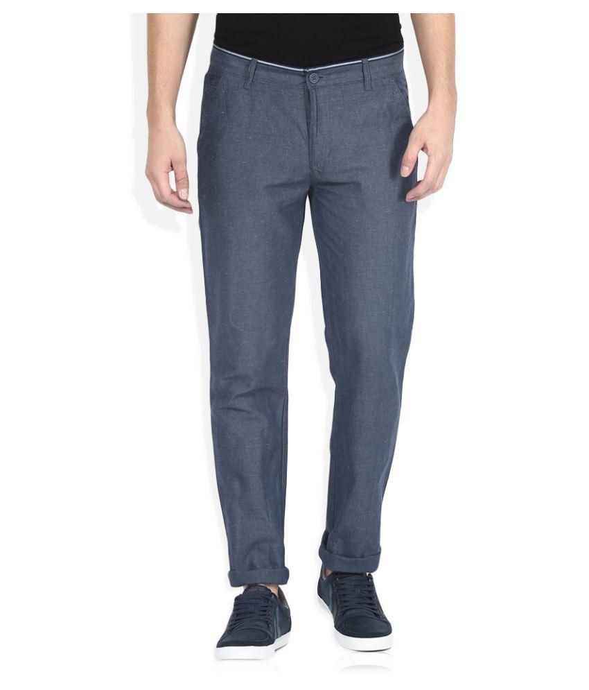 United Colors of Benetton Blue Regular Flat Trouser
