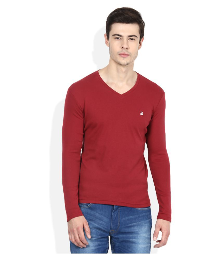 United Colors of Benetton Red V-Neck T-Shirt