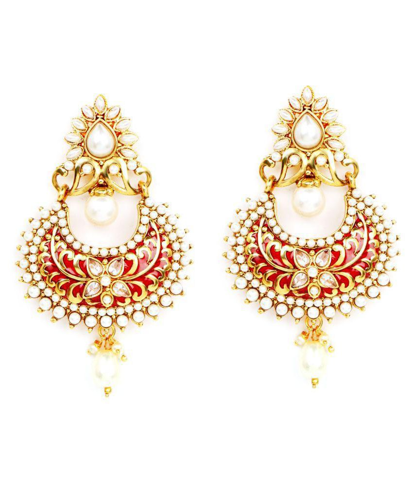 Johareez White Synthetic Pearl Gold Plated Red Enamel Earrings