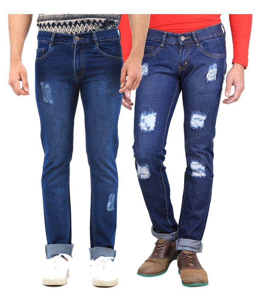 Van Galis Blue Regular Fit Distressed Jeans