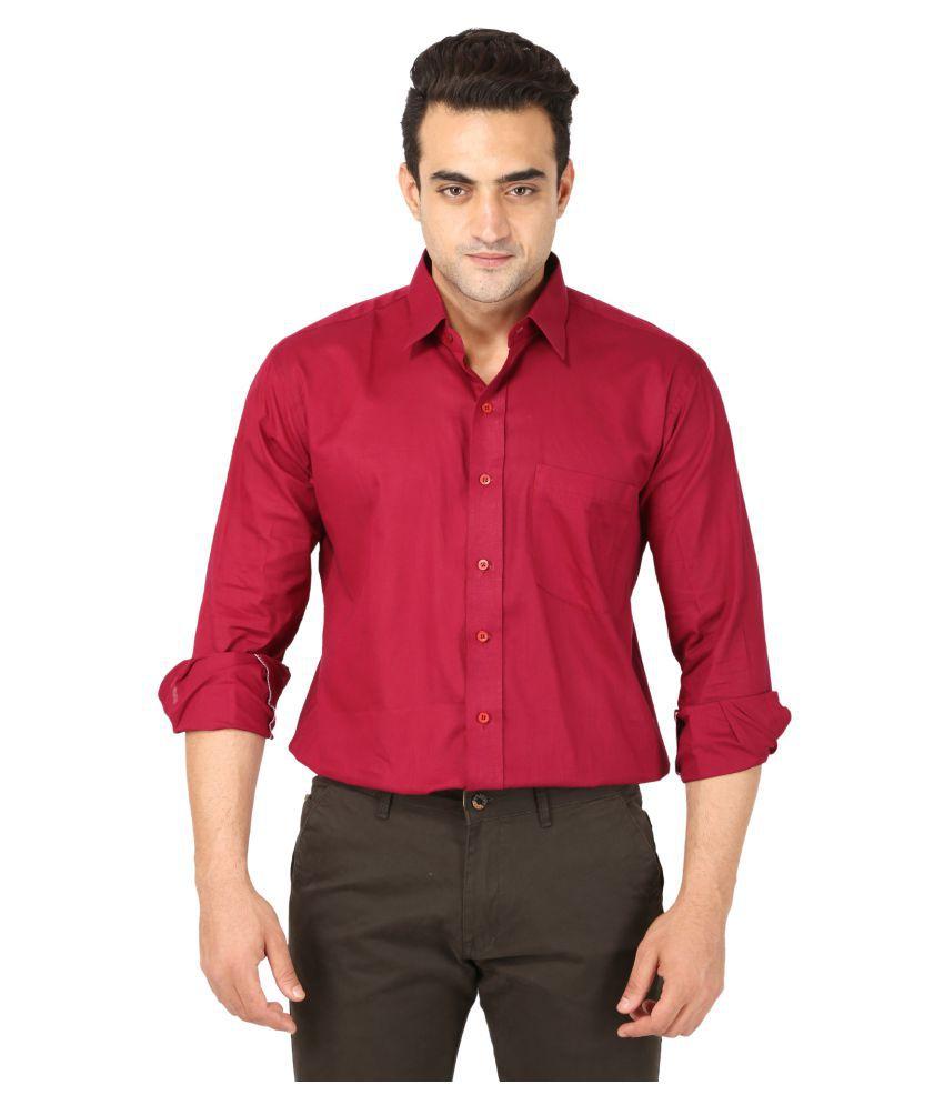 Bannasa Red Partywear Regular Fit Shirt Single