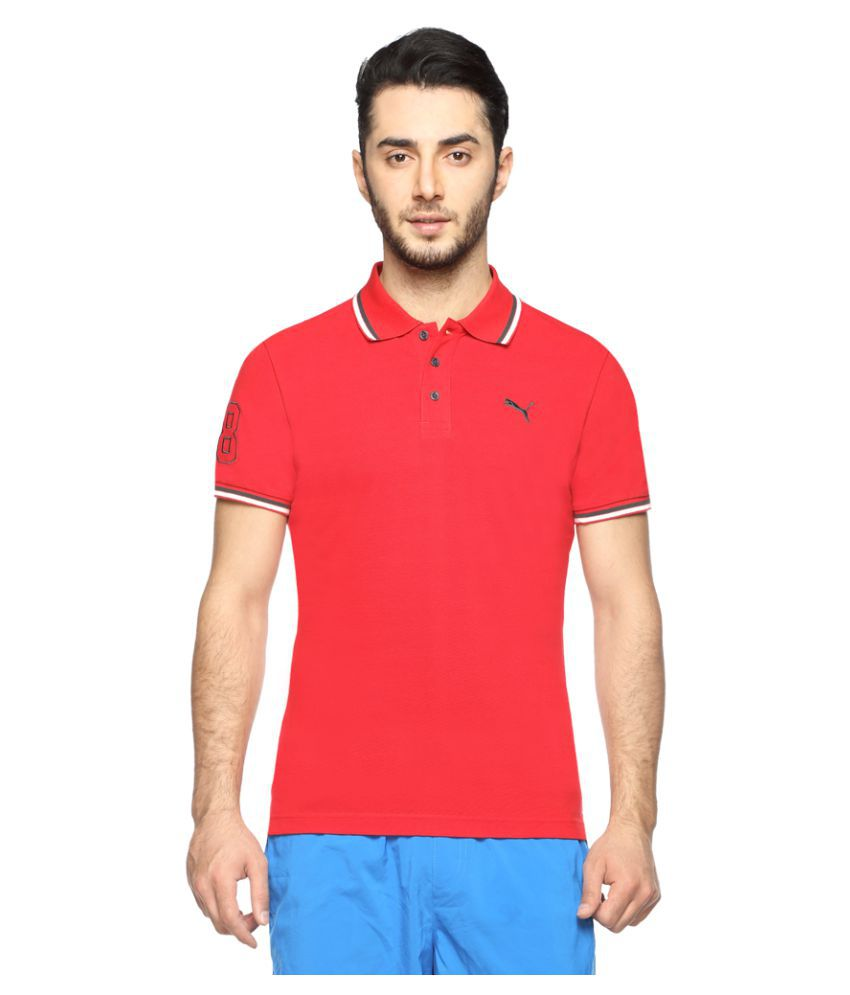 Puma Red Cotton Polo T-Shirt Single Pack