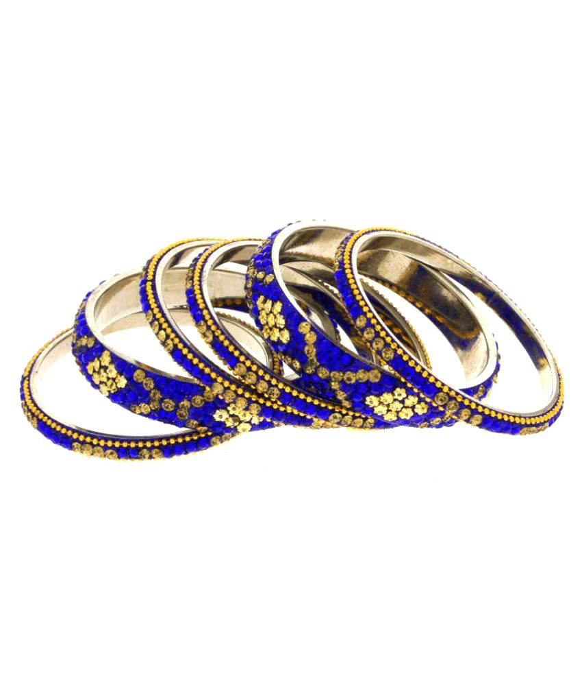 Anuradha Art Blue Bangle - Set of 6