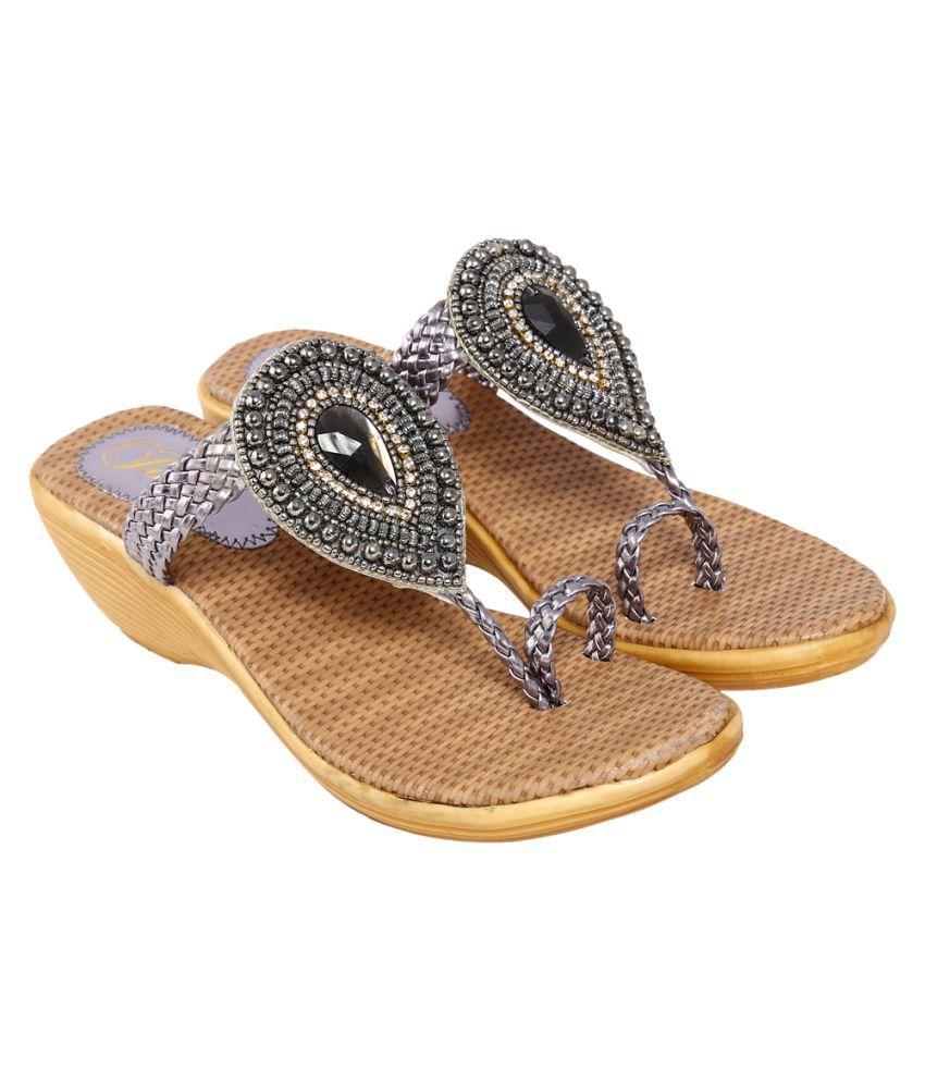 Jade Gray Wedges Heels
