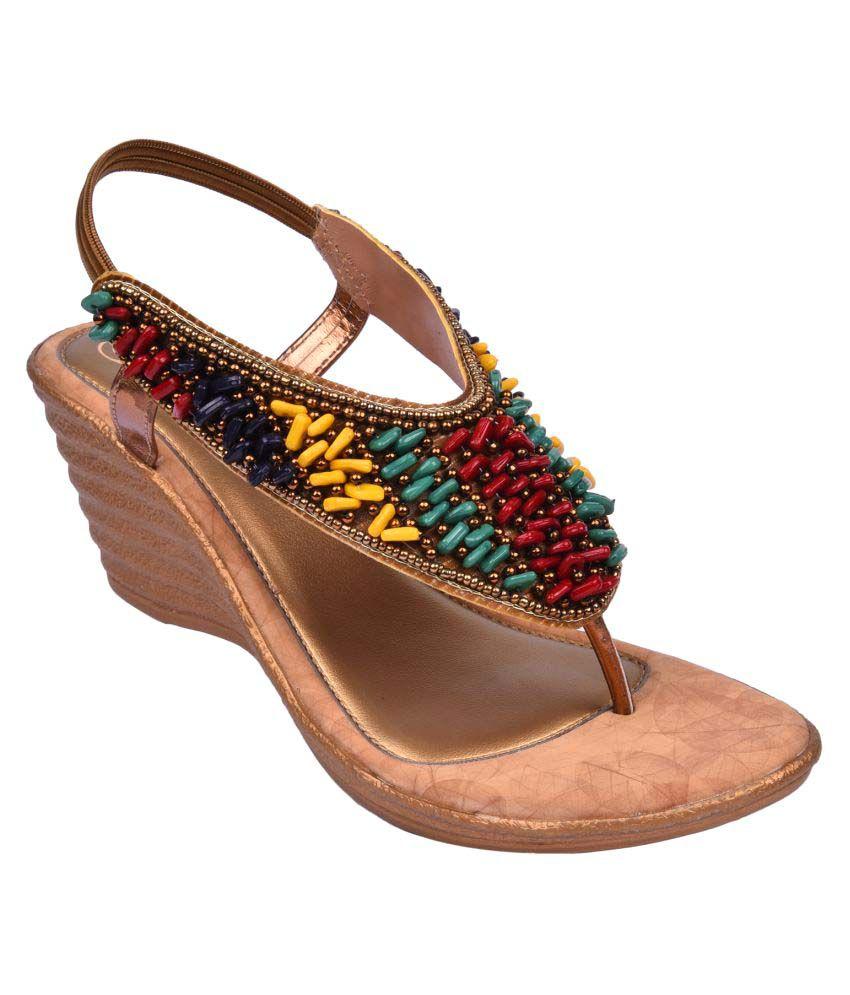 Jade Multi Color Wedges Heels