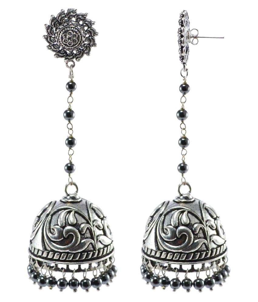 Silvesto India Silver Plated Black Jhumki