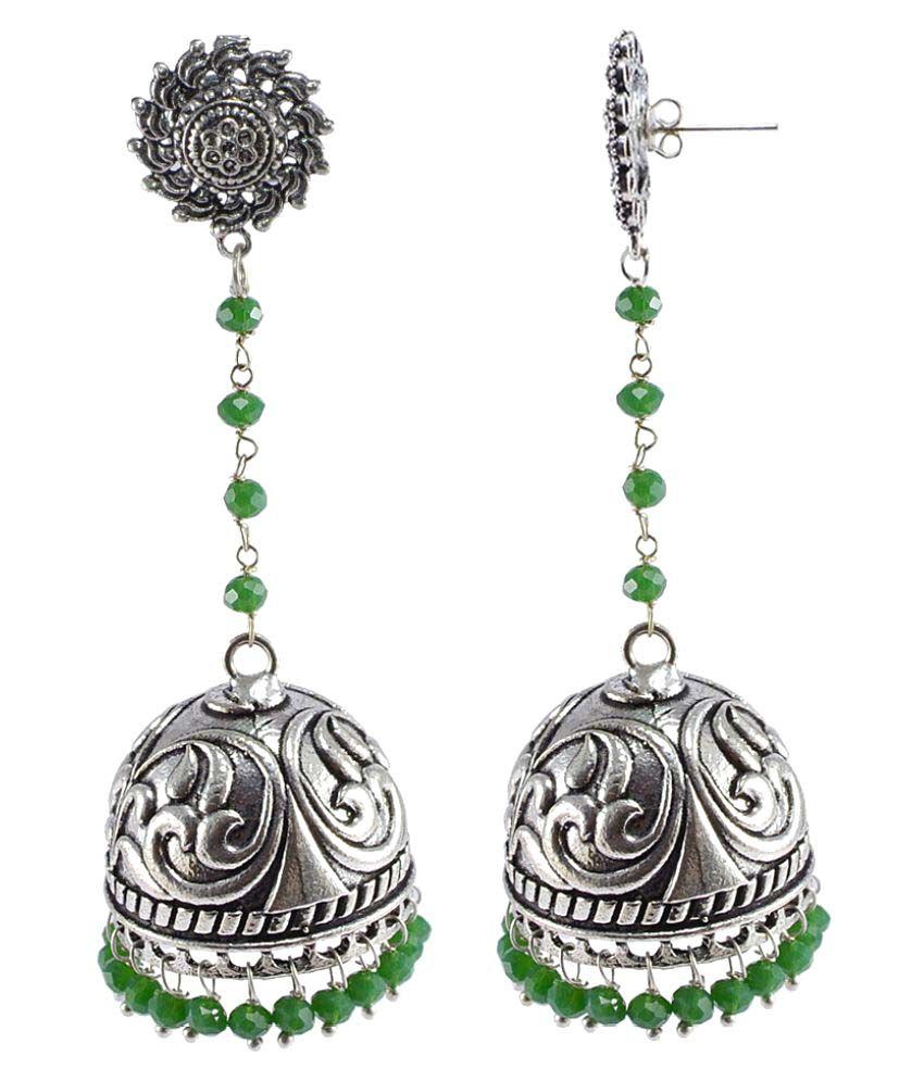Silvesto India Silver Plated Green Jhumki