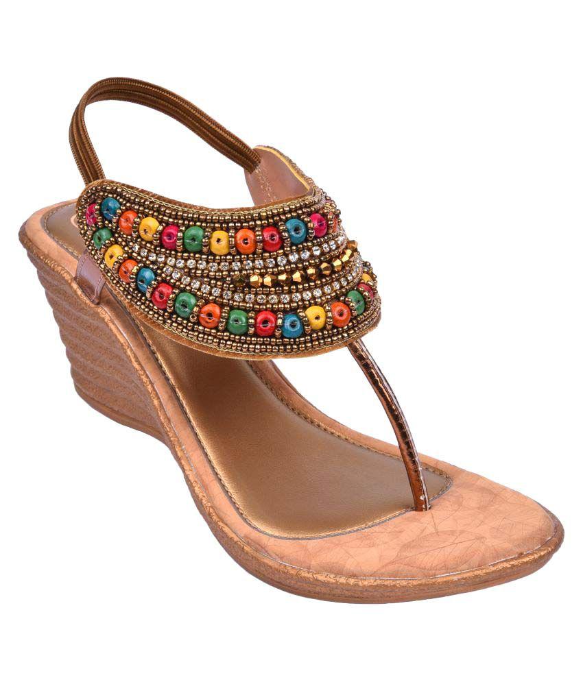 Jade Multi Color Wedges Ethnic Footwear