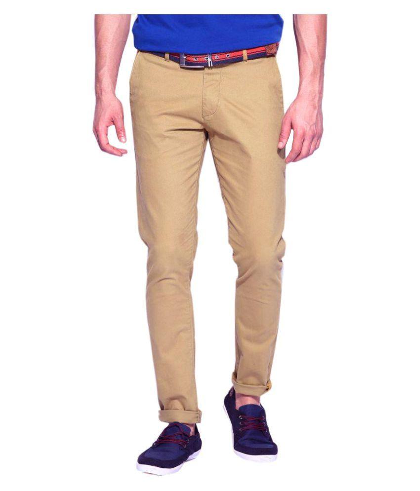 AD & AV Khaki Regular Flat Trouser