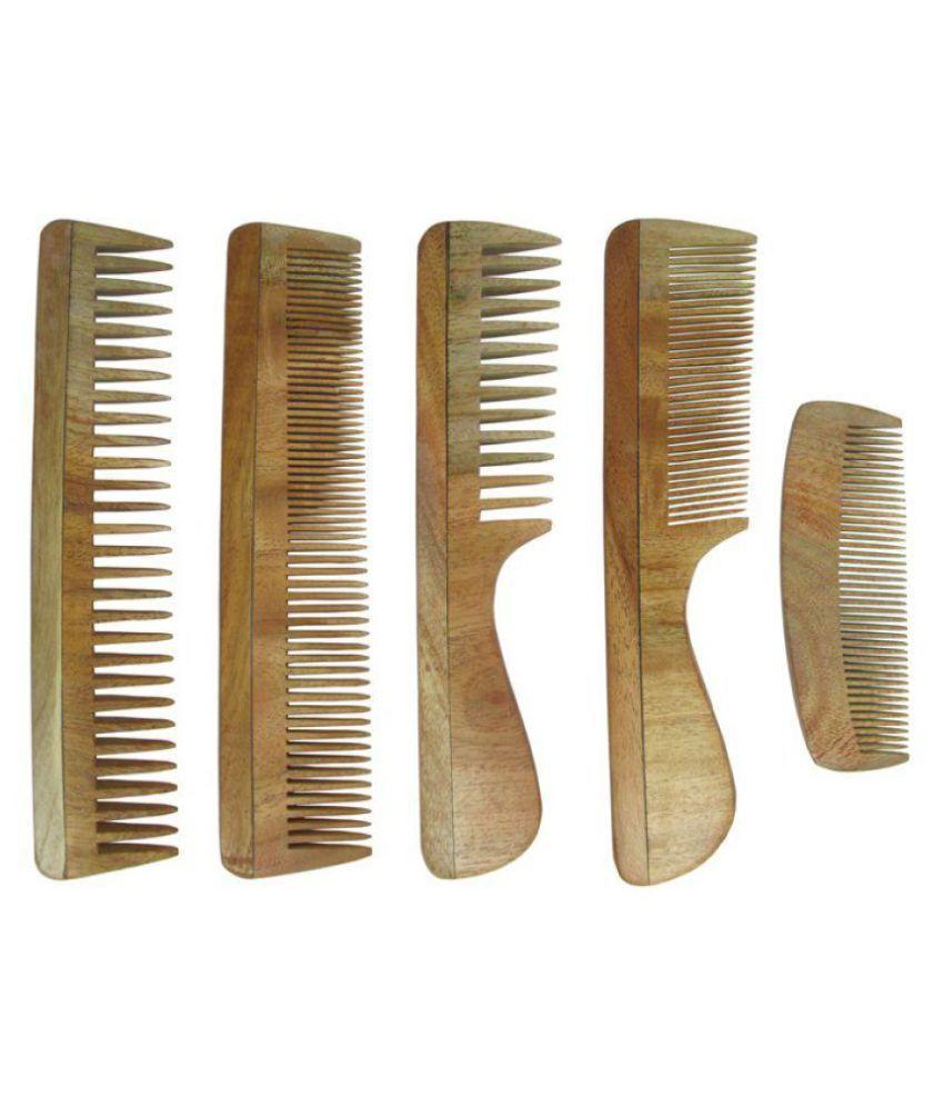 Prakrita Neem Wooden Comb Styler Pack of 5