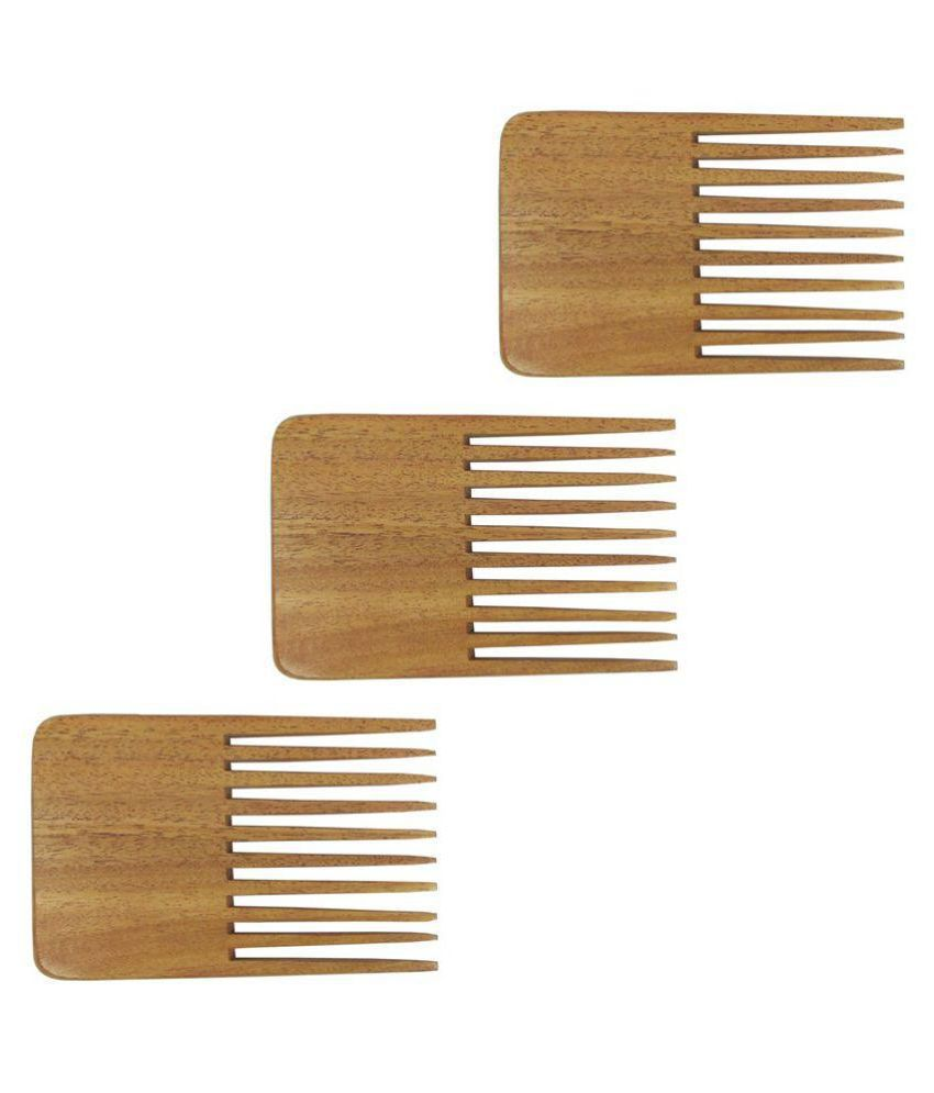 Prakrita Neem Wooden Beard Comb Styler Pack of 3